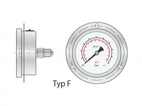 Rohrfedermanometer 0…250 bar/psi